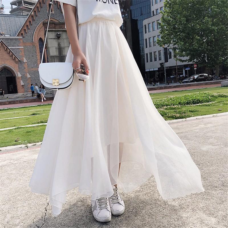 Юбка юбка юбка midi юбка эластичная талия высокая талия юбка SAKAZY Бежевый Свободный размер фото
