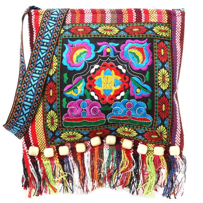 Meihuid красный 2017 new embroidery hill tribe totes messenger tassels bag boho hippie style
