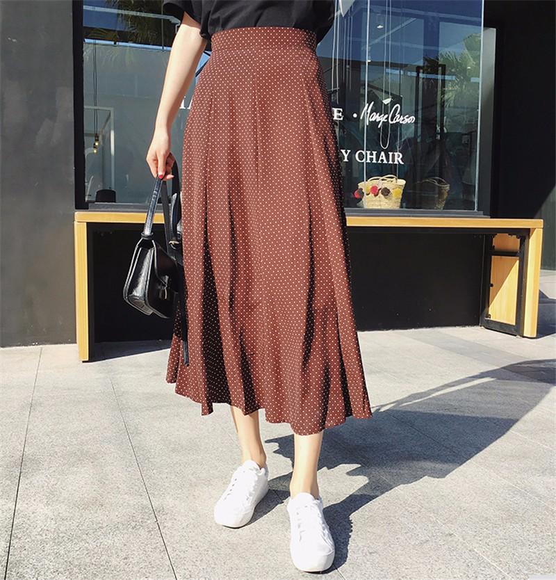 Юбка midi юбка эластичный талия высокая талия юбка юбка лето SAKAZY рыжеватый L фото