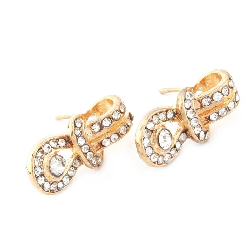 NicerDicer 1 пара леди моды золото себя кулон серьги бриллиантовые серьги