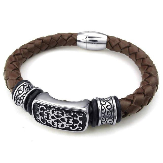 Hpolw 2017 новинка кожаный браслет мужской браслет из нержавеющей стали высокое качество черепа браслеты для мужчин