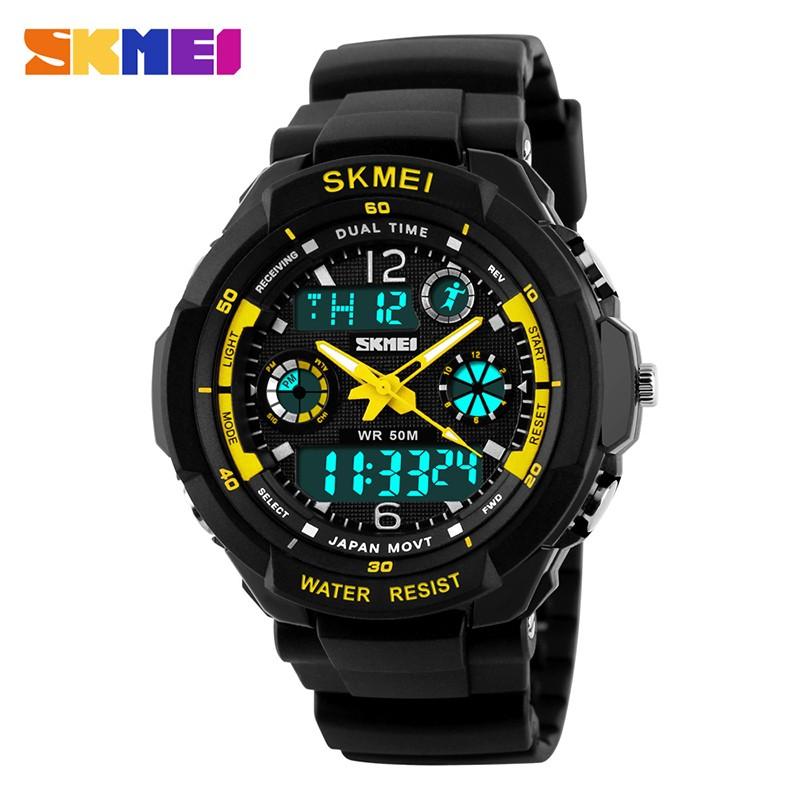 SKMEI Желтый Черный skmei спортивные часы кварц желтый 9106