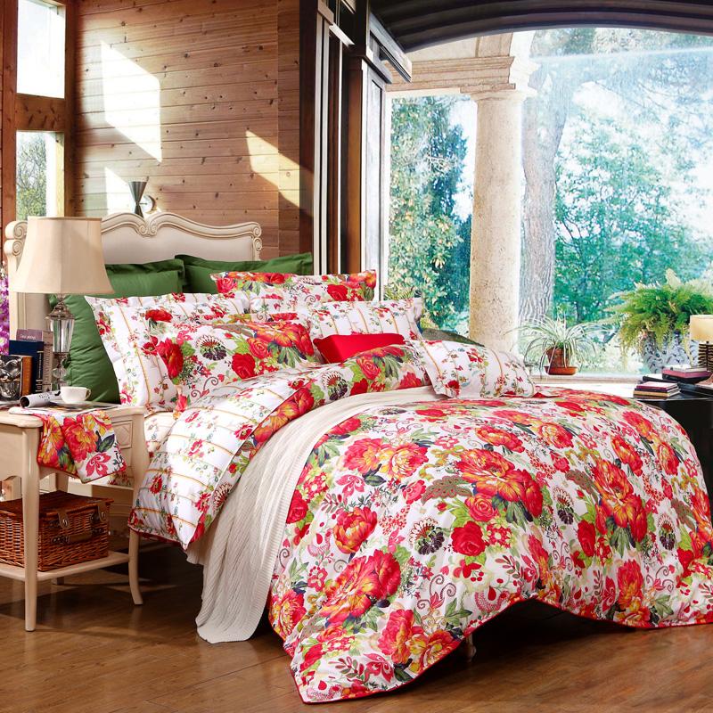 JD Коллекция цветы\ красный Кровать 18 м 230 229cm mercury постельные принадлежности набор 4 штуки простыня с набивной чехол на одеяло 100% хлопок