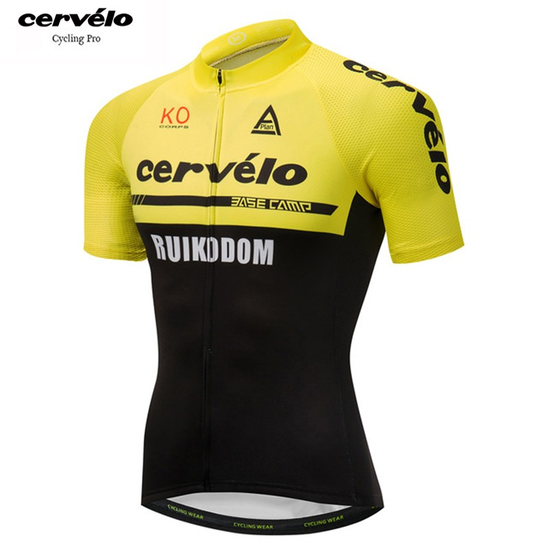 cervelo желтый S polyester summer breathable cycling jerseys pro team italia short sleeve bike clothing mtb ropa ciclismo bicycle maillot gel pad
