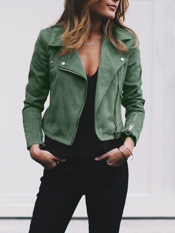 Женщины дамы кожаные куртки пальто Zip Up байкер полета повседневной верхней пальто Outwear Nulibenna Army Green Номер S фото