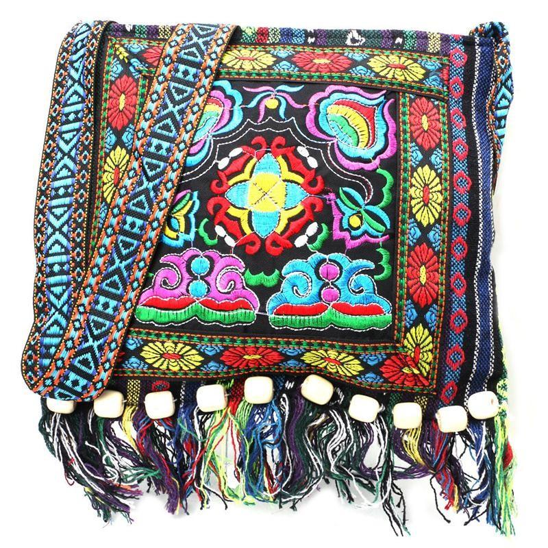 Meihuid синий 2017 new embroidery hill tribe totes messenger tassels bag boho hippie style