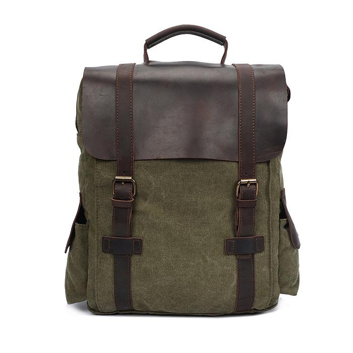 CAROLING ANGEL Зеленый 32  11  40 см Сумасшедшая лошадь кожаный холст плеча сумка Vintage Travel Backpack