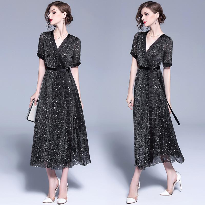 Платье белое Платье с коротким рукавом Платье DFYOP черный M фото