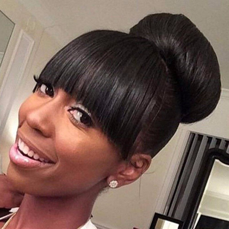 bluebell 1B 22 дюймов classic femal long black wigs with neat bangs synthetic hair wigs for black women african american straight full wigs false hair