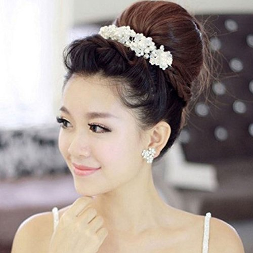 MyMei zx 0369 fashion women s elegant pearl crystal hair band silver white