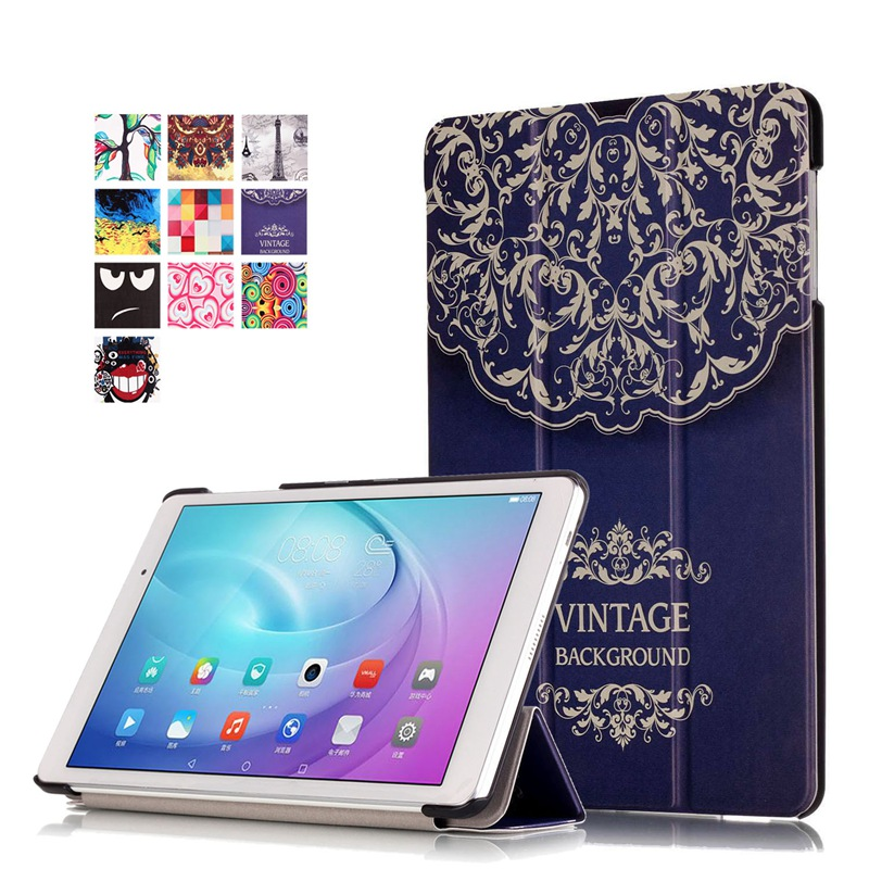 AKWS Флуоресцентный желтый fashion print magnet protective stand cover pu leather funda case for huawei mediapad t2 8 0 pro honor tablet 2 8inch tablet