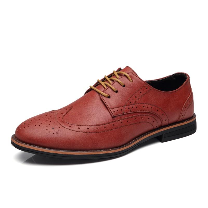 Мужская обувь мужская повседневная обувь кожаная обувь luoweikedeng Красный цвет 44 фото