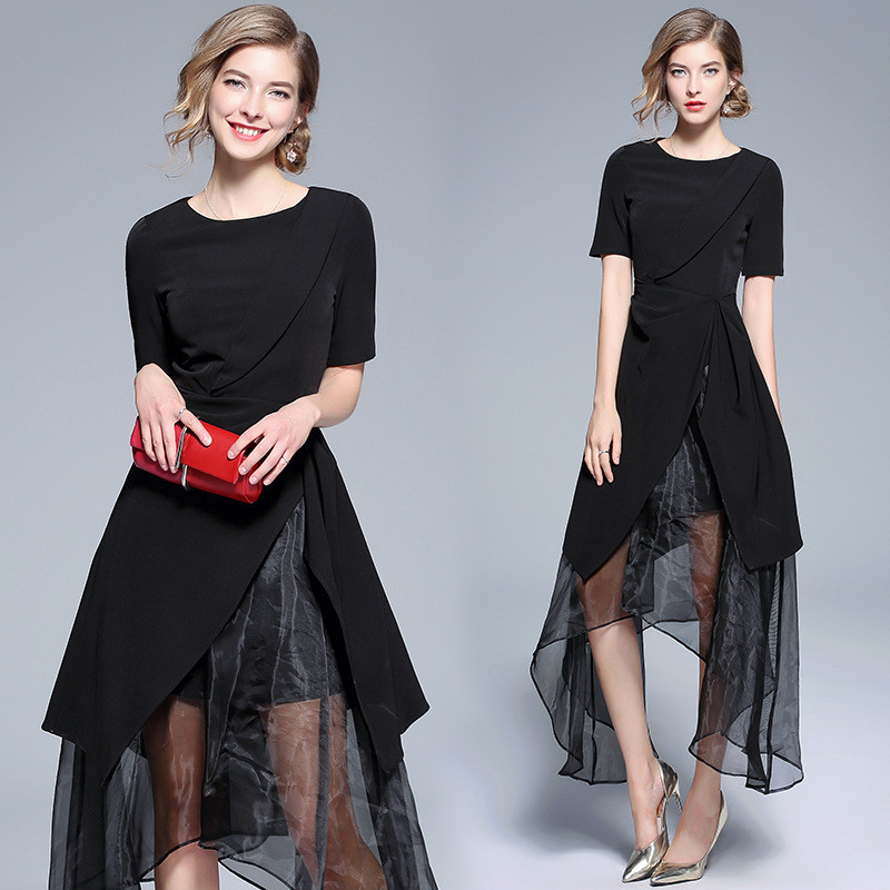 Платье с коротким рукавом DFYOP черный XL фото