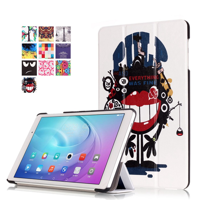 AKWS Красно-бурый fashion print magnet protective stand cover pu leather funda case for huawei mediapad t2 8 0 pro honor tablet 2 8inch tablet