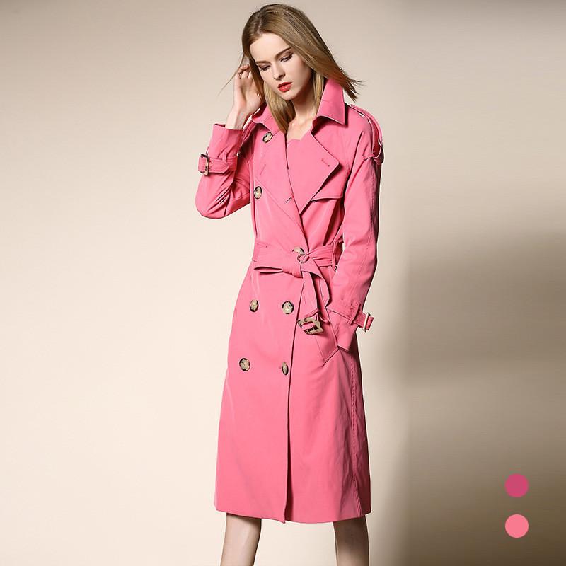 CAROLING ANGEL 1 XL Женщины Trench Coat Double Breasted Slim Fit Long Coat Casaco Feminino