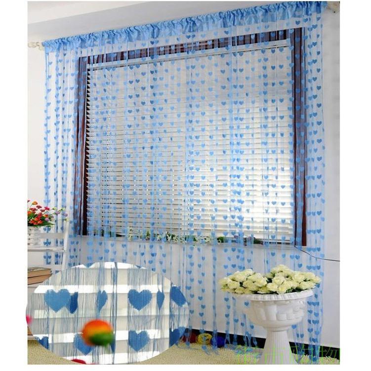 Романтик Сердце форма линия занавес гостиная отвесный занавес маленький занавес BangLong Синий фото