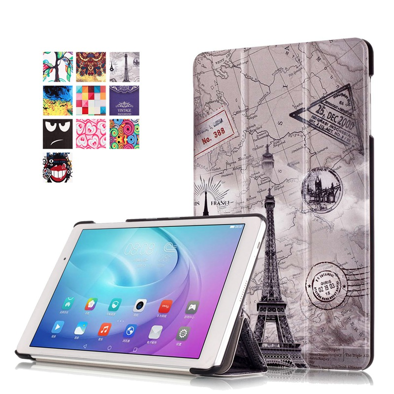 AKWS Каштановый fashion print magnet protective stand cover pu leather funda case for huawei mediapad t2 8 0 pro honor tablet 2 8inch tablet