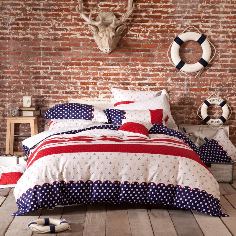 JD Коллекция красные-синие-белые полоски 18 м простыня mercury постельные принадлежности набор 4 штуки простыня с набивной чехол на одеяло 100% хлопок