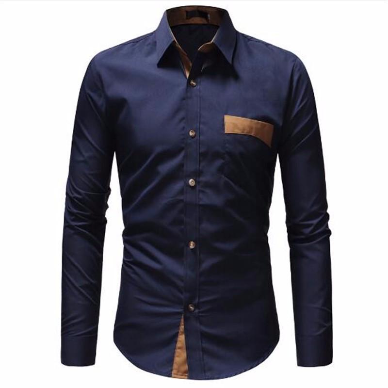 Рубашки мужские рубашки Повседневные рубашки Гавайский стиль Тонкие рубашки с длинным рукавом AILOOGE синий L фото