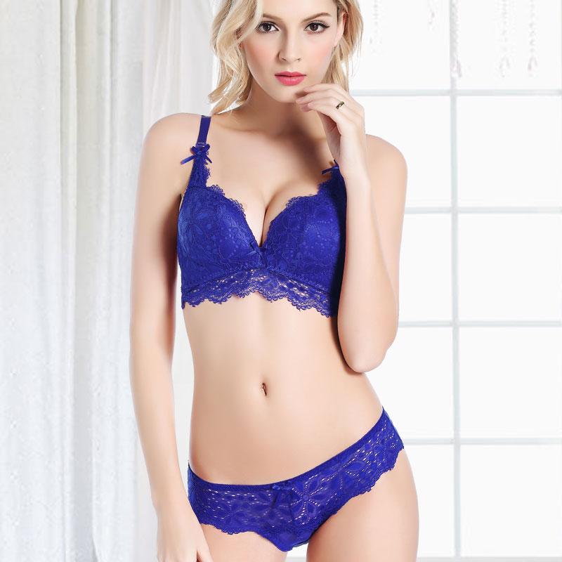 WANTAO синий 75B сексуальная грудь завернутые в бикини летом кружева г жа три типа белье костюм