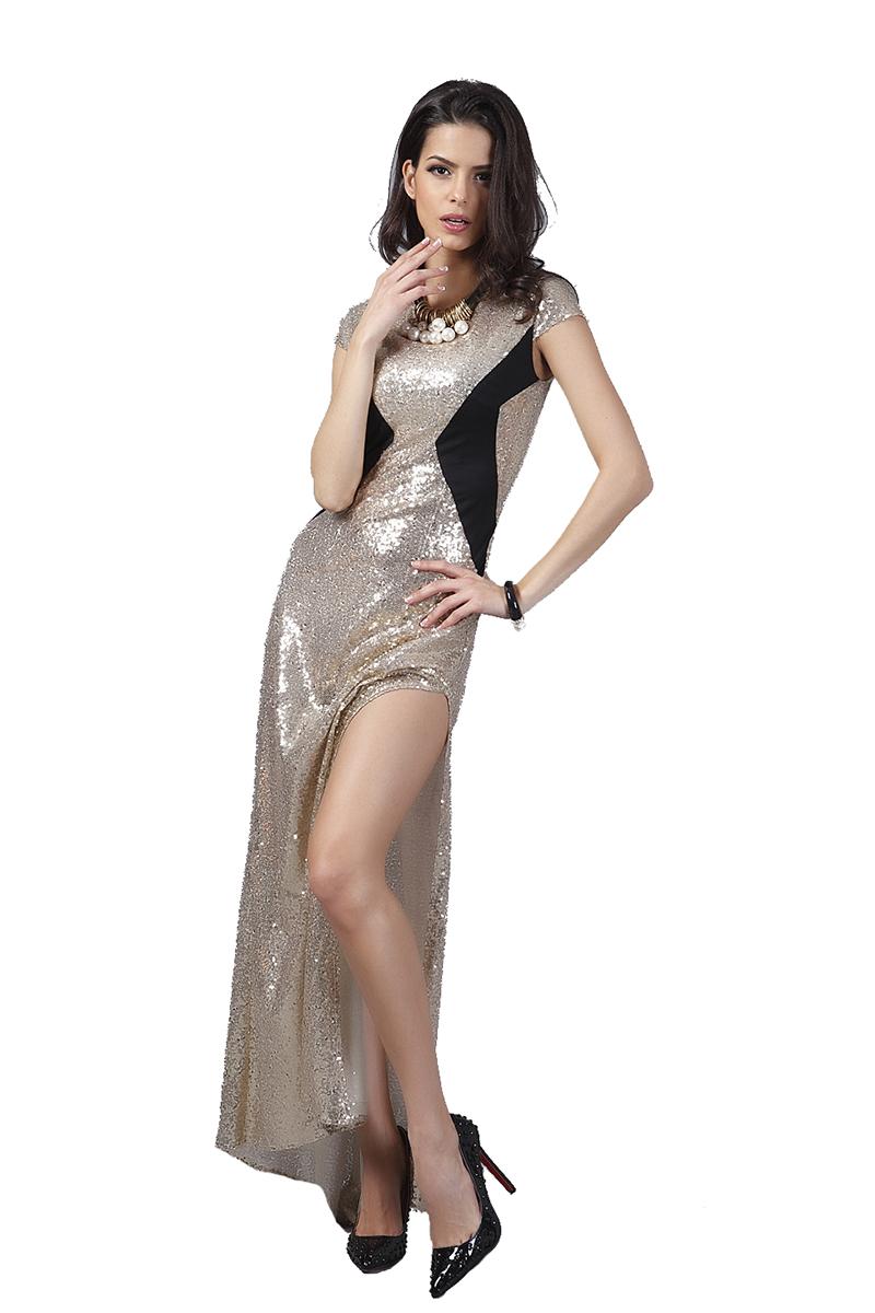 Buenos Ninos Золото Номер XL буэнос ниньос пояс оформлены юбку карандаш с коротким рукавом платье длиной до колен
