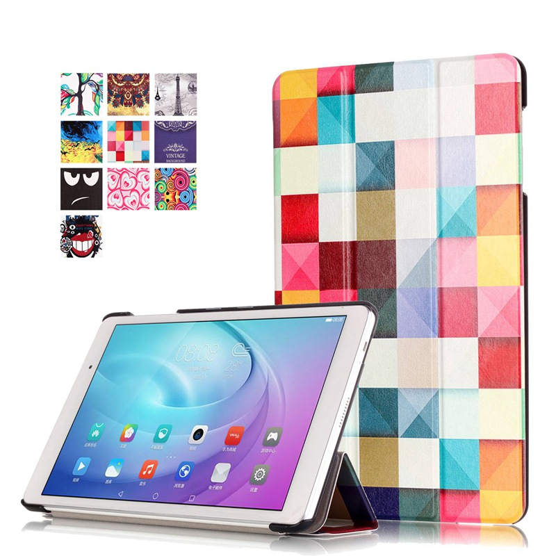 AKWS Коричневый fashion print magnet protective stand cover pu leather funda case for huawei mediapad t2 8 0 pro honor tablet 2 8inch tablet