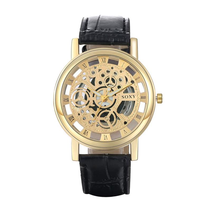 где купить Dachma Золотой циферблат Чёрный ремешок для часов дешево