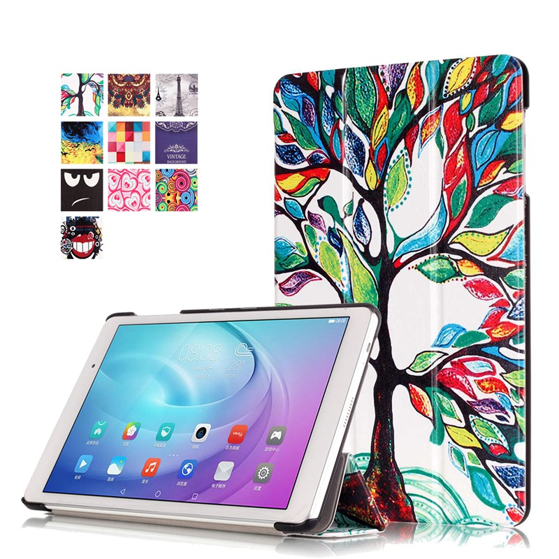 AKWS Бурый fashion print magnet protective stand cover pu leather funda case for huawei mediapad t2 8 0 pro honor tablet 2 8inch tablet