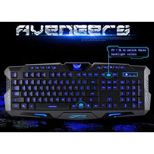 MyMei tecknet gryphon led illuminated programmable 3 colors backlight usb wired gaming keyboard and mouse with water resistant design