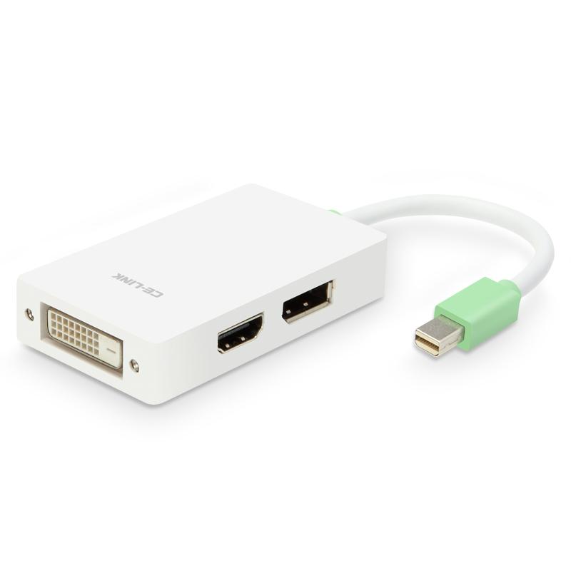 JD Коллекция Mini DP к DP HDMI DVI Белый кабель создание mini dp dp hdmi dvi тройной трансфицировал мини displayport адаптер конвертера подключены проекционный телевизор macbook белого cd0016