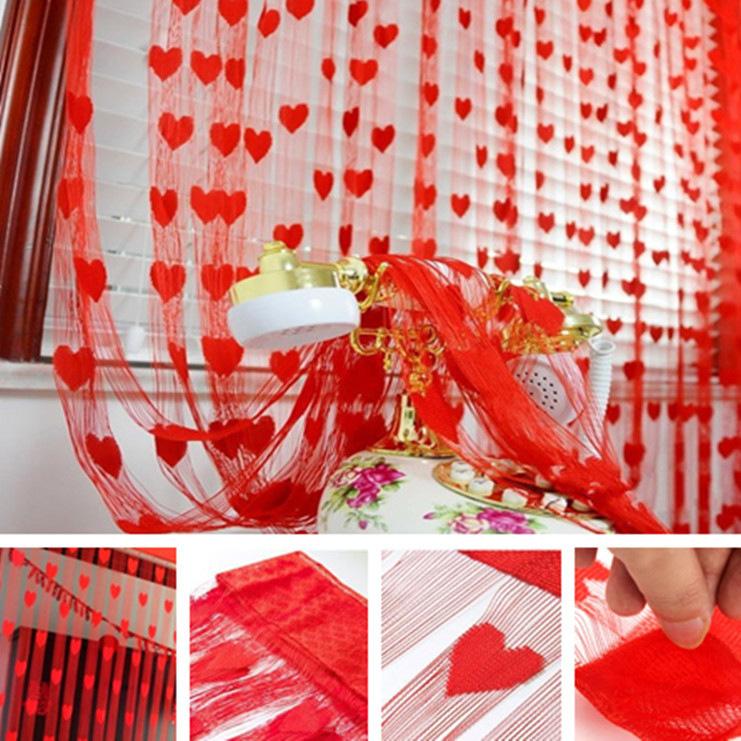 Романтик Сердце форма линия занавес гостиная отвесный занавес маленький занавес BangLong Красный фото