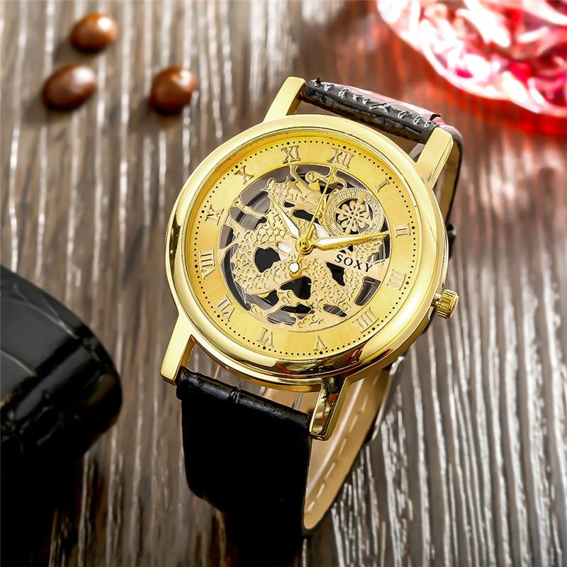 Dachma Золотой циферблат Чёрный ремешок для часов wh0039a модная серия наручные часы