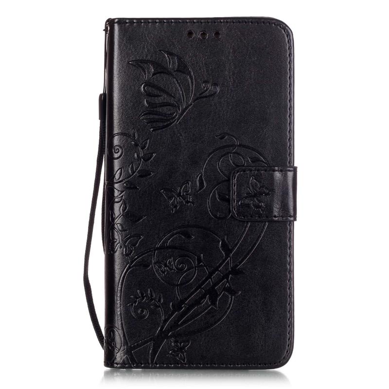 GANGXUN черный цветочный дизайн кожа pu откидная крышка бумажника карты держатель чехол для iphone 5c