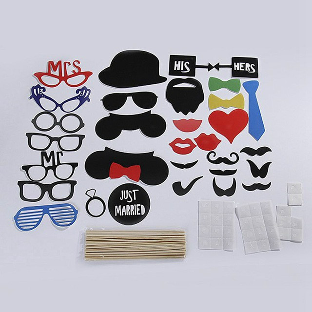 MyMei mymei 17pcs set photo booth props funny birthday party wedding mask moustache photo booth stick photography cosplay halloween mask