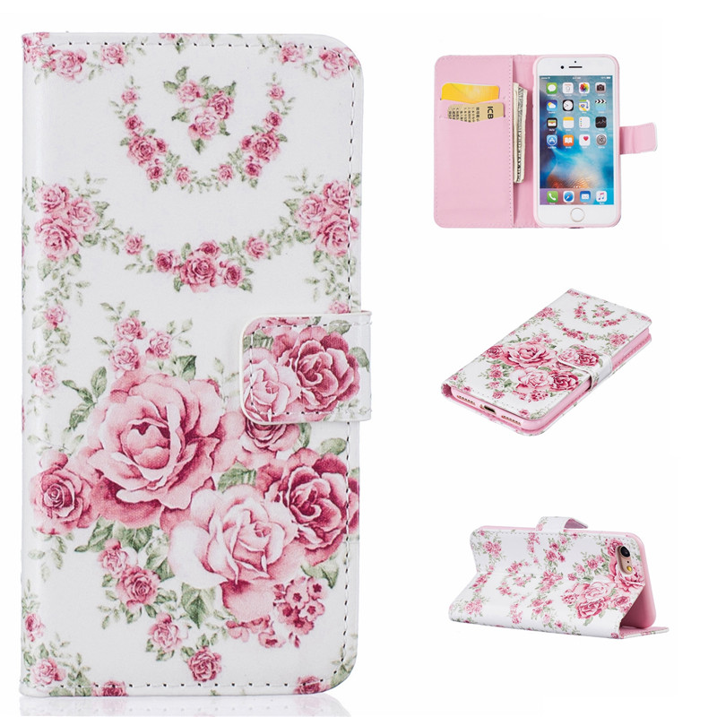 GANGXUN цветочный дизайн кожа pu откидная крышка бумажника карты держатель чехол для iphone 7g