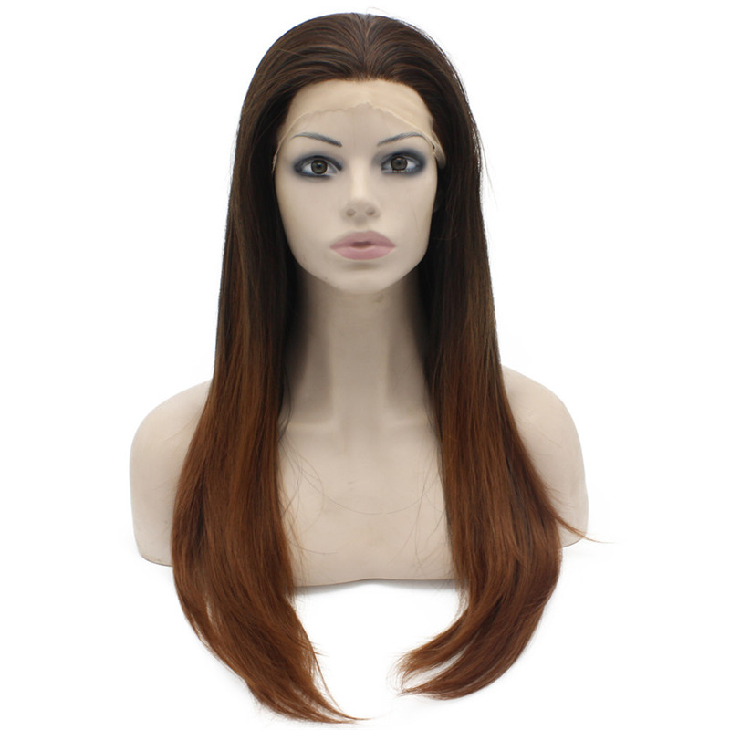 iwona heat risistant synthetic lace front wig long wavy brown wigs auburn mix