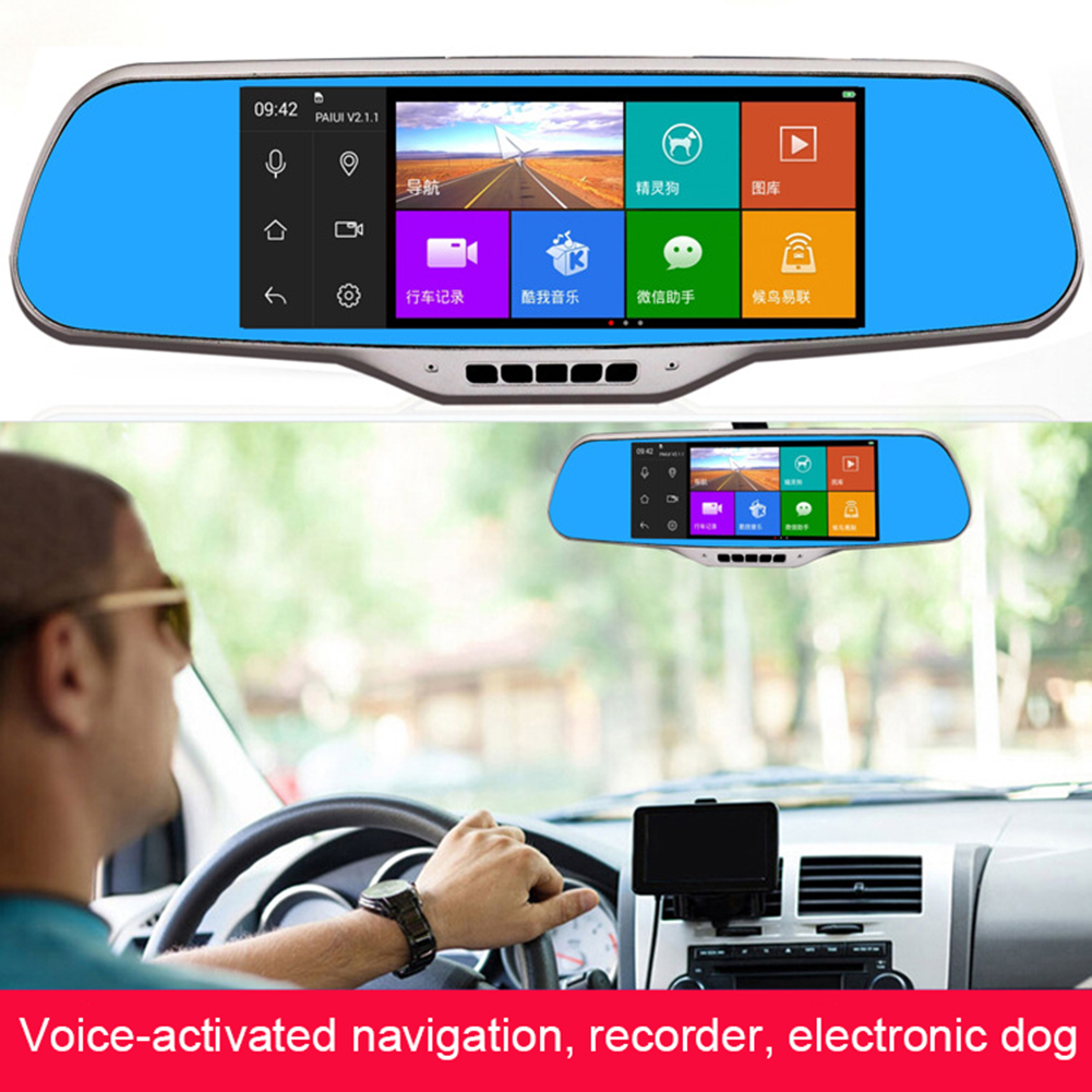 MyMei mymei 5 inch multifunction car dvr voice control android gps bluetooth rearview mirror monitor dual lens 1080 p video camera
