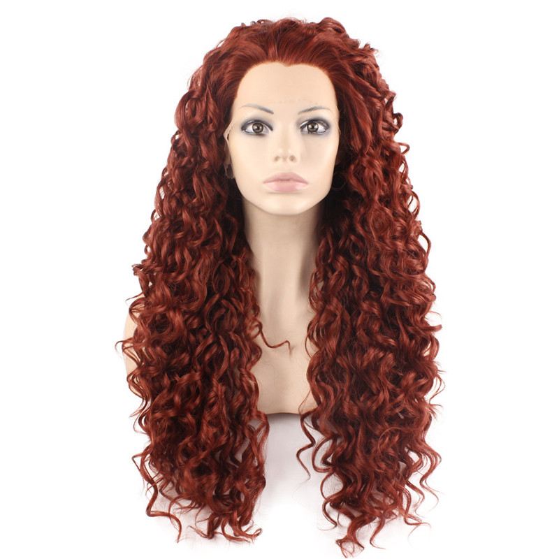iwona iwona synthetic hair lace front long curly burgundy red wig