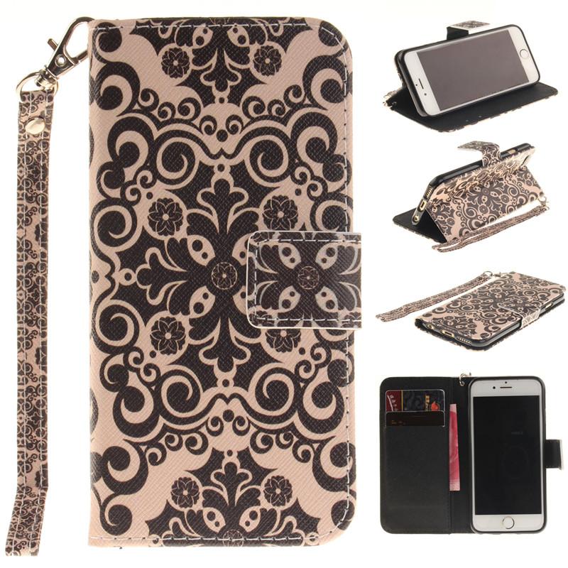 GANGXUN дворец цветок дизайн искусственная кожа флип кошелек карты держатель чехол для iphone 6 plus 6s plus