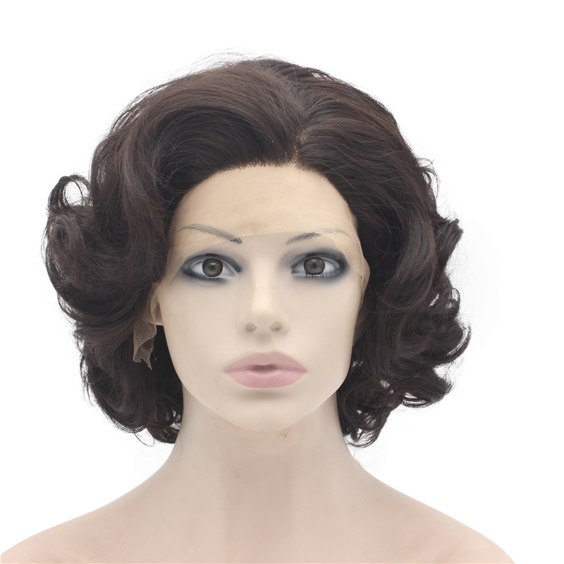 iwona iwona synthetic hair lace front short curly dark brown mix wig