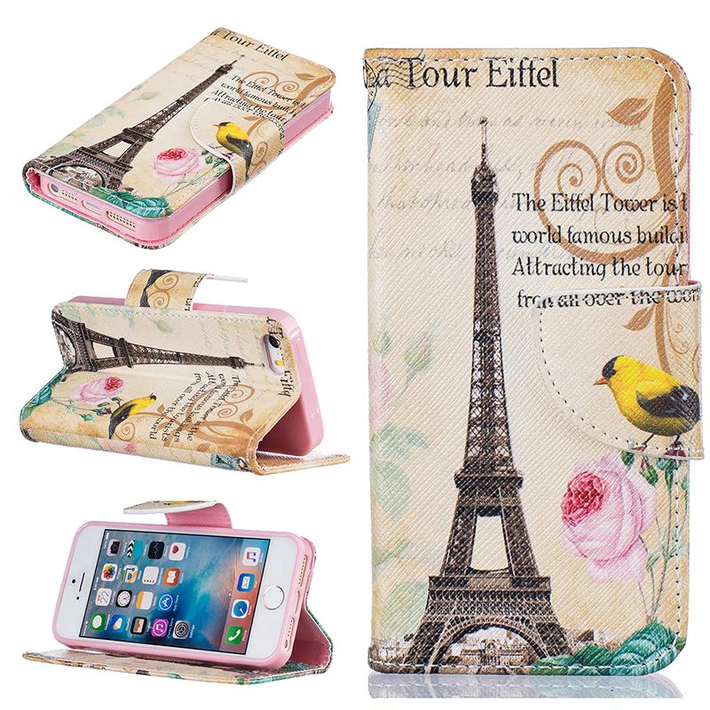 GANGXUN цветочный дизайн кожа pu откидная крышка бумажника карты держатель чехол для iphone 5s