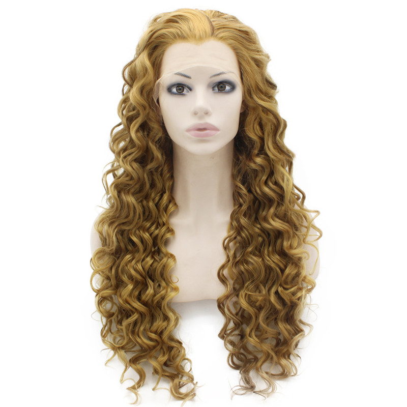 iwona synthetic lace front long blonde curly wig for women beautiful looking high quality natural blonde wigs cheap heat resistant