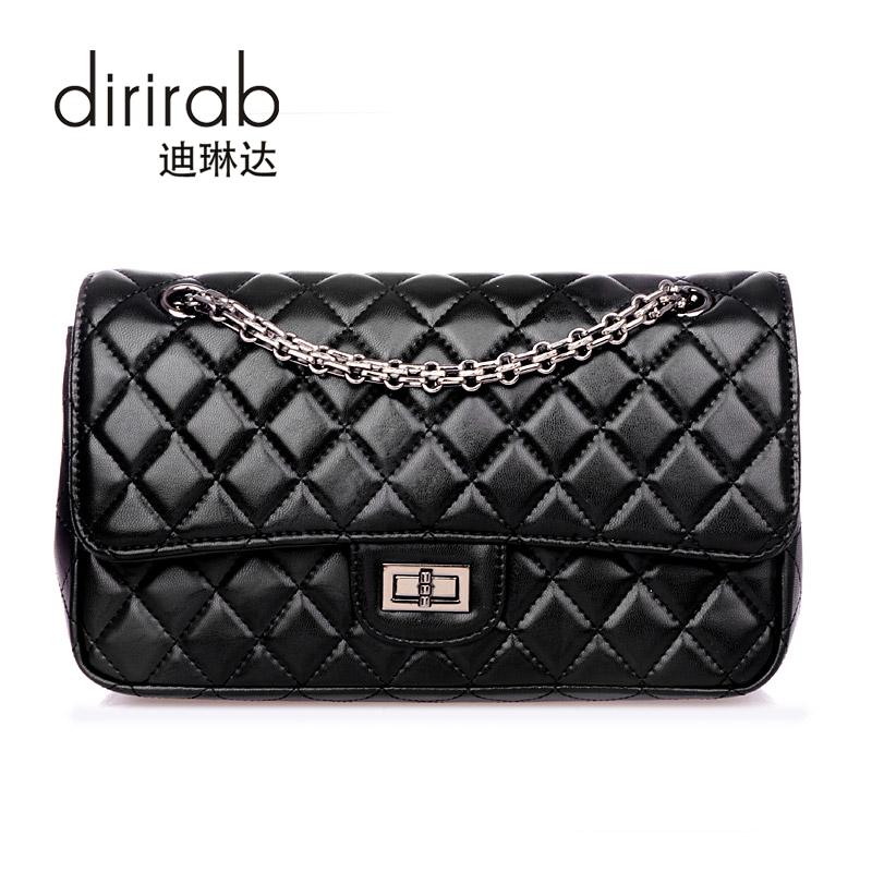 dirirab Black marino женщина lingge цепи плечо сумка пакет милая леди элегантный черный