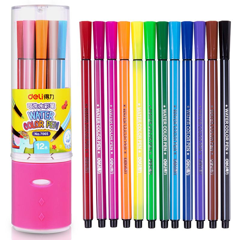 JD Коллекция Синяя Упаковка 12 цветов эффективный дели 70653 может быть большой емкость стиральным вдоль цвета маркеров 18