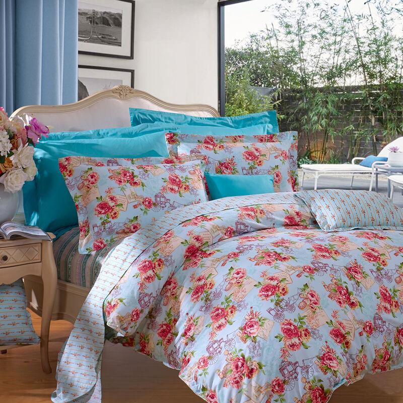 JD Коллекция красные цветы\ синий Кровать 15 м 203 229cm mercury постельные принадлежности набор 4 штуки простыня с набивной чехол на одеяло 100