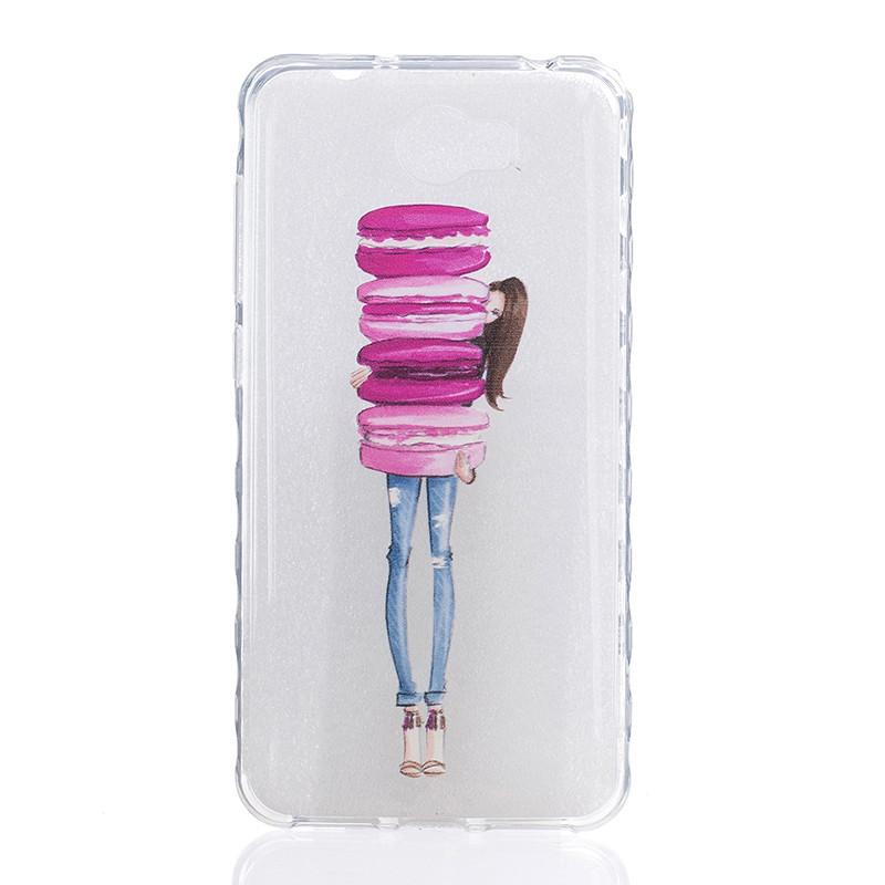GANGXUN девушка держит торт pattern мягкий тонкий тпу резиновая крышка случая силикона геля для huawei y5 ii