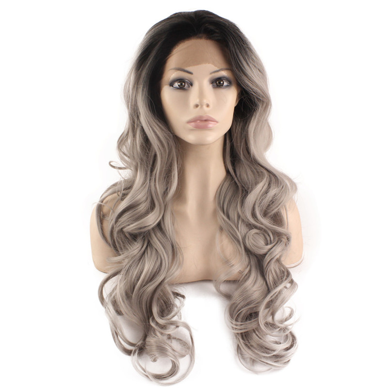 iwona fashion natural wavy ombre silver grey body wave synthetic lace front wig long black gray wigs heat resistant for black women