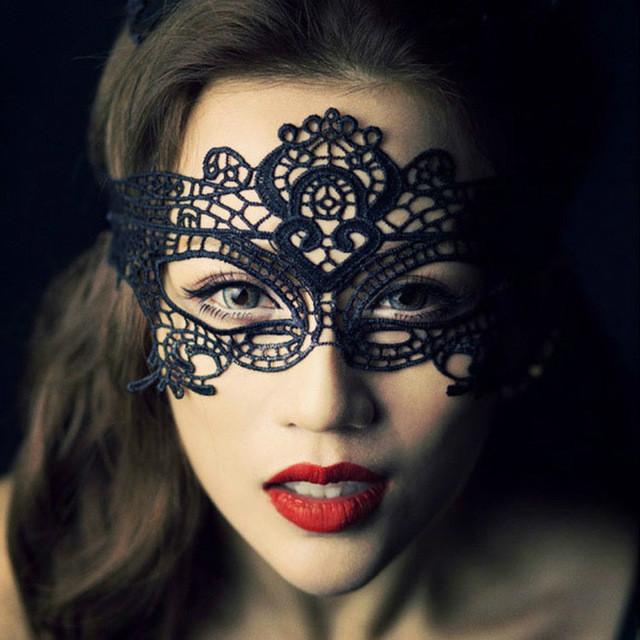 MyMei sexy cutout black lace masquerade mask for women