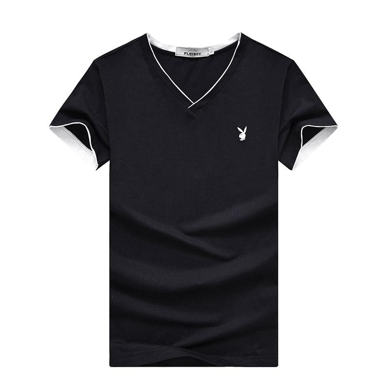 PLAYBOY Чёрный XXL playboy мужская модная и повседневная футболка с коротким рукавом и клуглым воротником