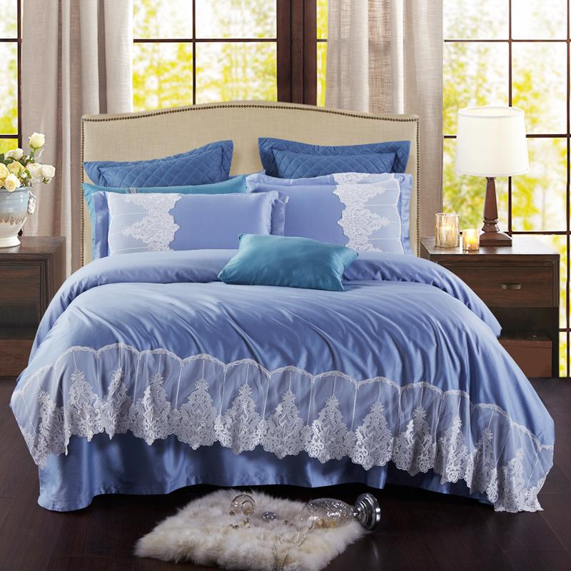 JD Коллекция синий 18 м 6 футов кровать mercury постельные принадлежности набор 4 штуки простыня с набивной чехол на одеяло 100% хлопок